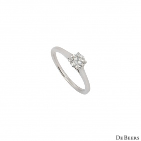 De Beers Platinum Diamond Engagement Ring 0.52ct H/VS1